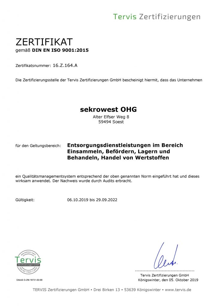 Zertifikat TERVIS Qualitätsmanagement