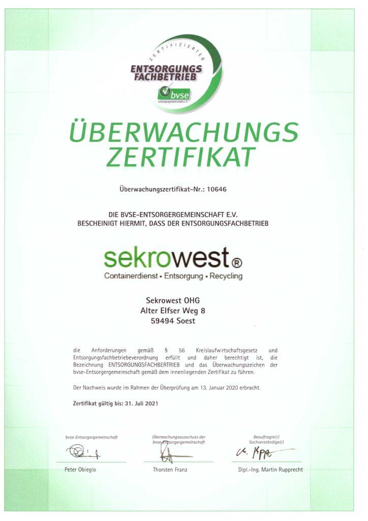 Entsorgungsfachbetrieb gemäß §56 KrWG